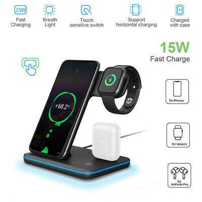 AU31.99 • Buy Wireless Charger Dock Charging Station 3 In 1 For IPhone Apple Watch