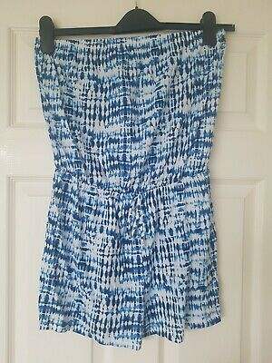 £10.99 • Buy Blue And White Tie-Dye Patterned Bandeau Playsuit Matalan Size Medium New
