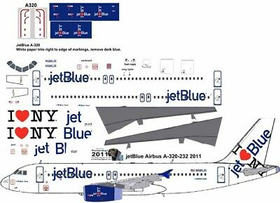 £7.26 • Buy JetBlue  I Love NY Airbus A-320 Pointerdog7  Decals For Revell 1/144 Kit