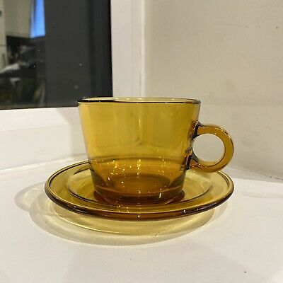 £12 • Buy Rare Vereco Amber Glass French Coffee Cups & Saucers Vintage Excellent 1950