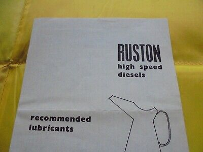 £4 • Buy Ruston And Hornsby Leaflet--Lubricating OIls