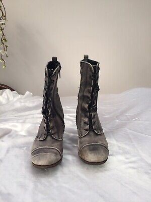 £14 • Buy All Saints Heeled Amarante Ankle Boots Distressed Grey Leather Size 6 / 39 Zips