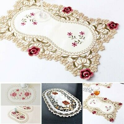£4.93 • Buy Kitchen Dining Table Place Mats Embroidered Floral Lace Doily Placemat 30*45cm