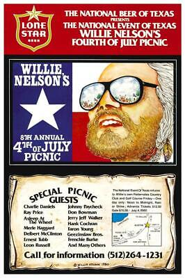 $15.94 • Buy Willie Nelson - POSTER - Country Legend July 4th Picnic Concert - WALL ART PRINT