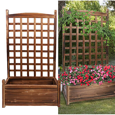 £16 • Buy Wooden Garden Planters Flower Plant Pot Large Raised Bed With Climbing Trellis