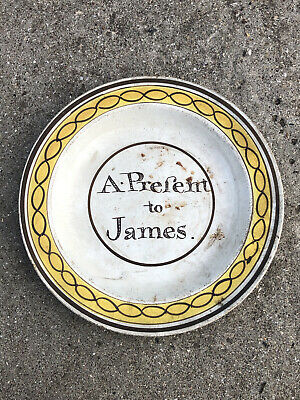 £49.99 • Buy EARLY ANTIQUE 18thC ? POTTERY PLATE - A PRESENT TO JAMES - PEARLWARE ?