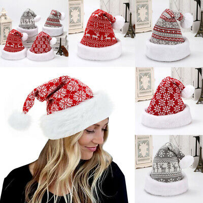 £4.88 • Buy Santa Claus Christmas Hats Xmas Cap Soft Plush Knitted Hat Holiday Costume Party
