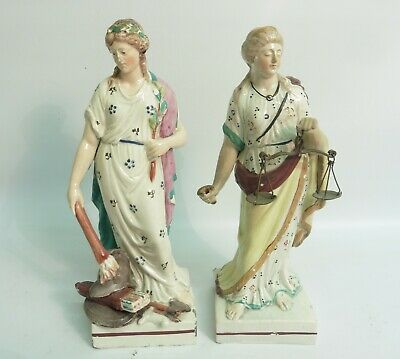 £57.98 • Buy Pair Of 18thc Staffordshire Prattware Pearlware Figures  Peace And Justice  A/f