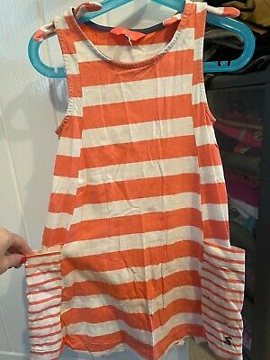 £0.99 • Buy Joules Girls Coral Striped Dress Age 5