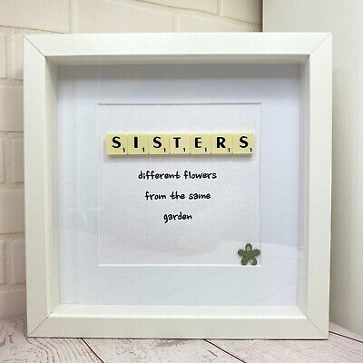 £15.99 • Buy Scrabble Letter Picture In A  White Box Frame, Present For Sister, Sister Quote