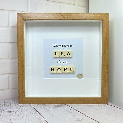 £15.99 • Buy Scrabble Letter Picture In A  Wood Effect Box Frame, Present For Tea Lover