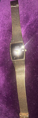 £12 • Buy Accurist  Vintage Mens Gold Tone Stainless Steel Date Watch - New Battery