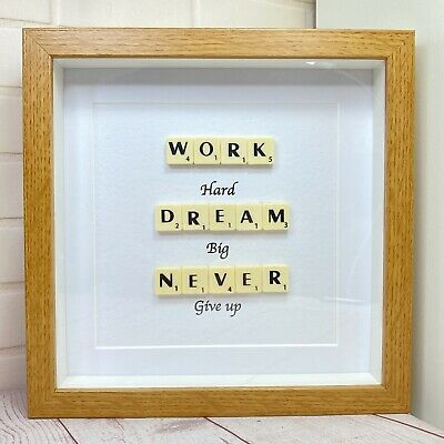 £15.99 • Buy Scrabble Letter Picture In A  Wood Effect Box Frame With An Inspirational Quote
