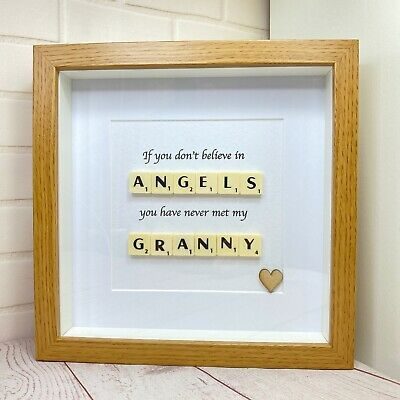 £15.99 • Buy Scrabble Letter Picture In A  Wood Effect Box Frame With A Granny Quote