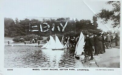 £8 • Buy Model Yacht Racing, Sefton Park, Liverpool. Real Photographic Postcard.