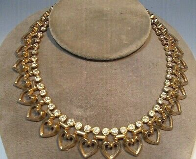 £14.52 • Buy Vintage Trifari Gold Tone Necklace - Hearts With Rhinestones - AS IS