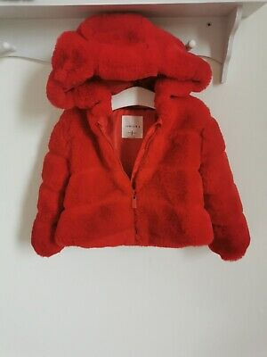 £5 • Buy Baby Girls Jasper Conran Red Faux Fur Coat With Hood Size 12-18 Months