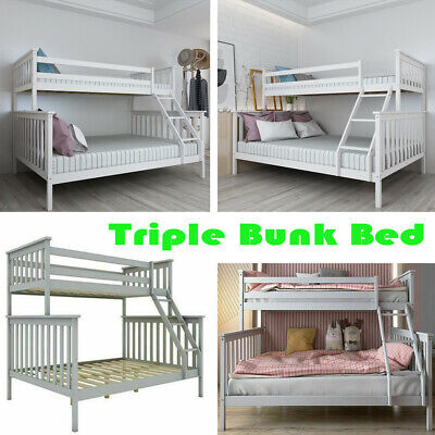 £162.89 • Buy Triple Bunk Bed 3FT Single & 4FT6 Double Bed Frame Solid Wooden Pine Adult Kids