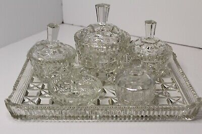 £19.99 • Buy Victorian Style - Cut Glass - Dressing Table Set - 6 Pieces