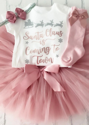 £27.99 • Buy Baby Girls Santa Claus Is Coming To Town Outfit With Socks 2021 Tutu Rose Gold