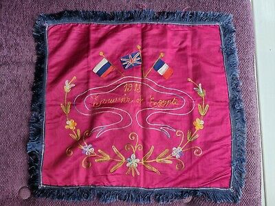 £66.14 • Buy Ww1 Silk 1915 Souvenir Of Egypt Embroidered Panel With Flags
