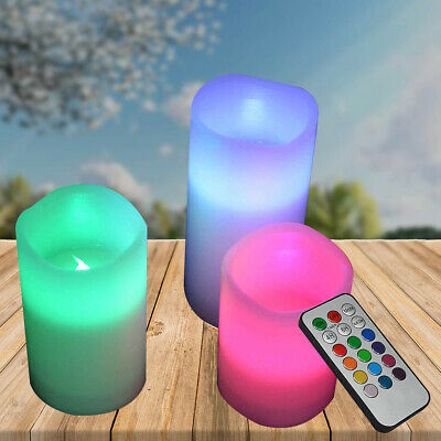 £7.59 • Buy Set Of 3 Flameless Flickering LED Pillar Candles Colour Changing Mood Candles
