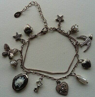 £3 • Buy Accessorize Silver Metal Bracelet With Butterfly, Bird Charms, Lockets