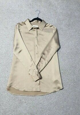 £8 • Buy Marks & Spencer Soft Silk Button Up Long Sleeve Shirt Size 14