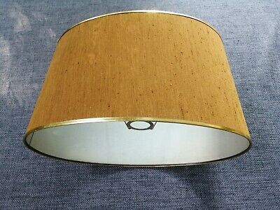 £5 • Buy Vintage Retro 60s 70s Table Lampshade Brown Gold Trim Raw Silk
