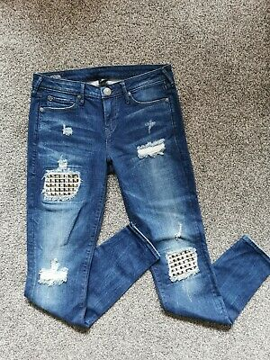 £0.99 • Buy True Religion Ripped Jeans With Studded Sequins Size W28 10 UK  Brand New