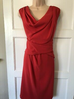 AU45.29 • Buy Coast Dress Size 18 Red Knee Length Straight Wedding Special Occasion.