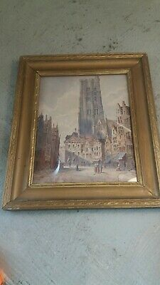 £14.50 • Buy Mannes Antique Watercolour Painting , French Street Scene