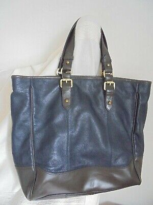 £9.99 • Buy M & S 'autograph' - A Very Large Tote / Week End  Bag In Navy & Brown Leather