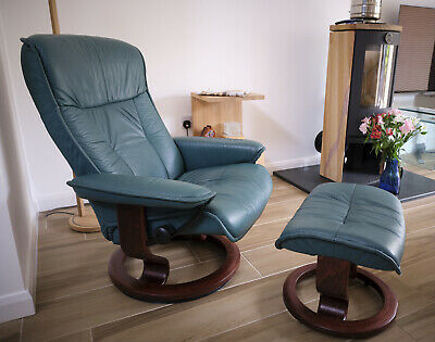 £122 • Buy Ekornes Stressless Leather Reclining Chair And Footstool