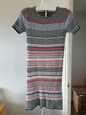 £2.60 • Buy Knitted Jumper Dress UK 10 12 Colourful Ribbed Short Sleeve