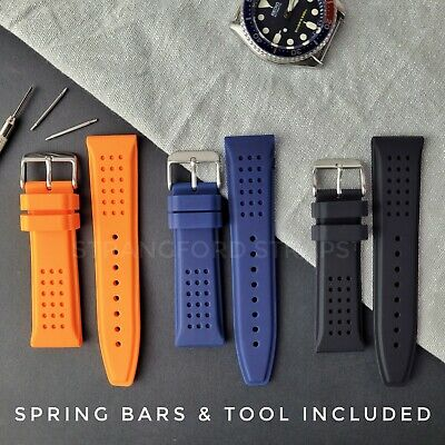 £9.95 • Buy Indented Dimple Soft Silicone Rubber Watch Straps Black Blue Orange 22mm 24mm