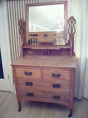 £295 • Buy Antique Edwardian Dressing Table Chest Of Drawers Big Mirror Rare Vintage