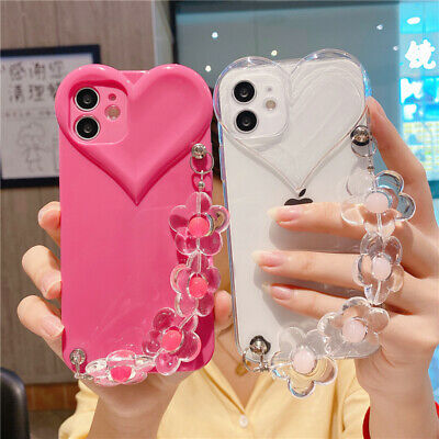 AU13.67 • Buy For IPhone 13 Pro Max 12 11 XS XR 8 7 Girl Cute Shockproof Love Heart Strap Case