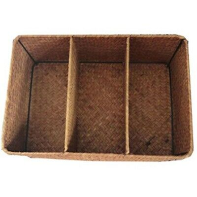£11.99 • Buy 3-Section Wicker Baskets For Shelves, Hand-Woven Seagrass Storage Baskets T P7J4