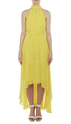 £23.50 • Buy Ted Baker Yellow Maxi Dresses NADETTE Pleated Size 4 UK14
