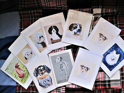 £1 • Buy 10 Cards , Blank And Featuring Various Dogs, All Painted By Artist Jean Duffus