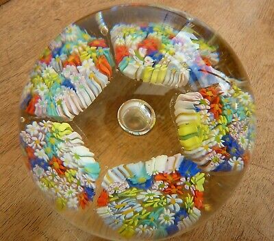 £4.99 • Buy Old Vtg Lge Millefiori Daisies Clusters&Central Bubble Glass Paperweight Murano?