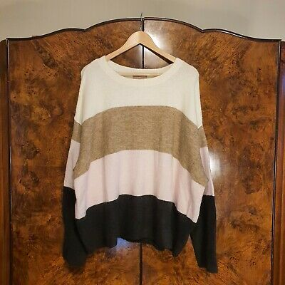 £4 • Buy H&M SuperSoft/ Cosy White Pink Black  Stripy Baggy Jumper/ Sweater 3XL Oversized