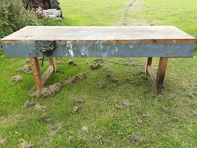 £200 • Buy Old Large Carpenters Bench 96 X 32 With Record Carpenters Vice
