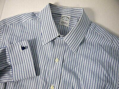 £25.43 • Buy Brooks Brothers Mens Dress Shirt 16 34 Extra Slim Blue White Striped French Cuff