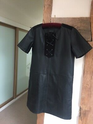 £35 • Buy Real Leather Dress, Black With Suede Trim, Size 12 Excellent Condition