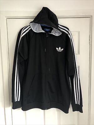 £7 • Buy Adidas Mens Black And White Hooded Tracksuit Top XL