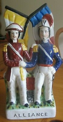 £34.99 • Buy Staffordshire Flatback Pottery 2 Soldiers Allance