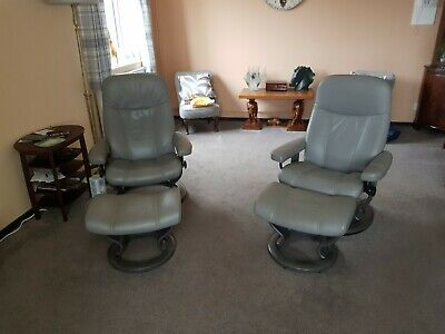 £87 • Buy Pair Of Recliner Swivel Chairs Grey Leather