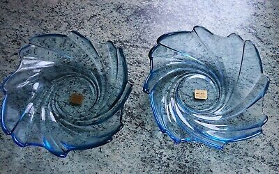 £14.99 • Buy 2 Arcoroc France Pale Blue Swirl Glass Dishes/bowls